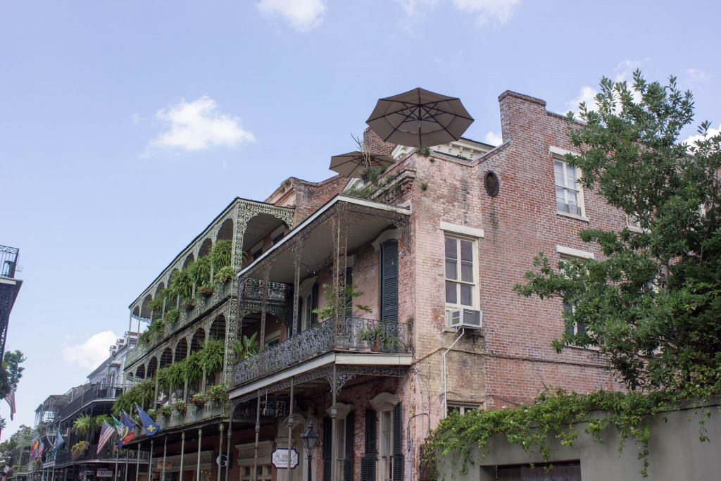 Within the French Quarter, you see a lot of wrought iron and brick - it's a Spanish building style, actually, as the last big fire that went through the region took place during the Spanish ownership of the city, and thus everything was rebuilt to the Spanish fire code.