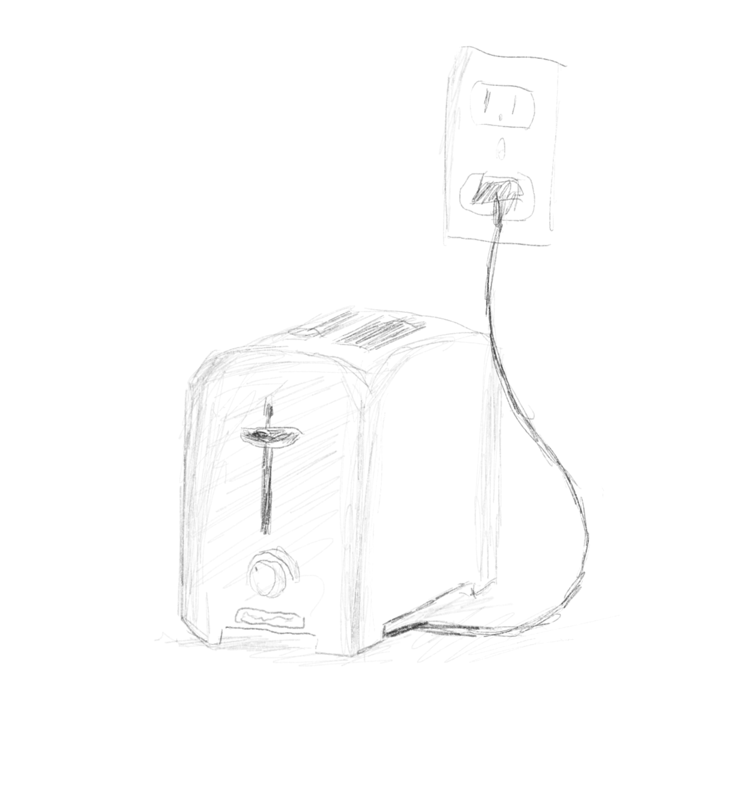 Sketch of a toaster, plugged in to the wall.